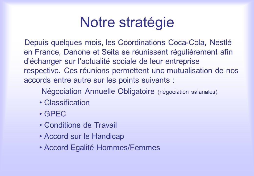 Notre stratégie Depuis quelques mois, les Coordinations Coca-Cola, Nestlé en France, Danone et Seita se réunissent régulièrement afin déchanger sur la