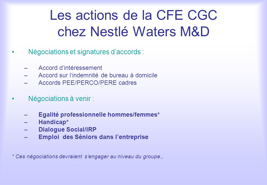 Les actions de la CFE CGC chez Nestlé Waters M&D Négociations et signatures daccords : –Accord dintéressement –Accord sur lindemnité de bureau à domic