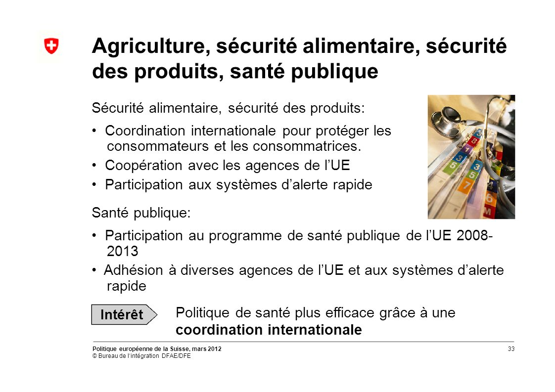 Agriculture, sécurité alimentaire, sécurité des produits, santé publique Sécurité alimentaire, sécurité des produits: Coordination internationale pour protéger les consommateurs et les consommatrices.