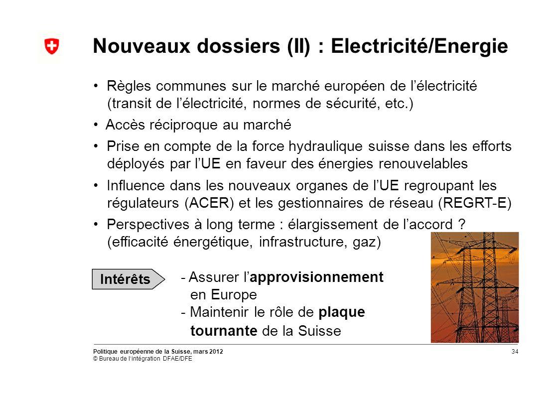 Nouveaux dossiers (II) : Electricité/Energie Règles communes sur le marché européen de lélectricité (transit de lélectricité, normes de sécurité, etc.) Accès réciproque au marché Prise en compte de la force hydraulique suisse dans les efforts déployés par lUE en faveur des énergies renouvelables Influence dans les nouveaux organes de lUE regroupant les régulateurs (ACER) et les gestionnaires de réseau (REGRT-E) Perspectives à long terme : élargissement de laccord .
