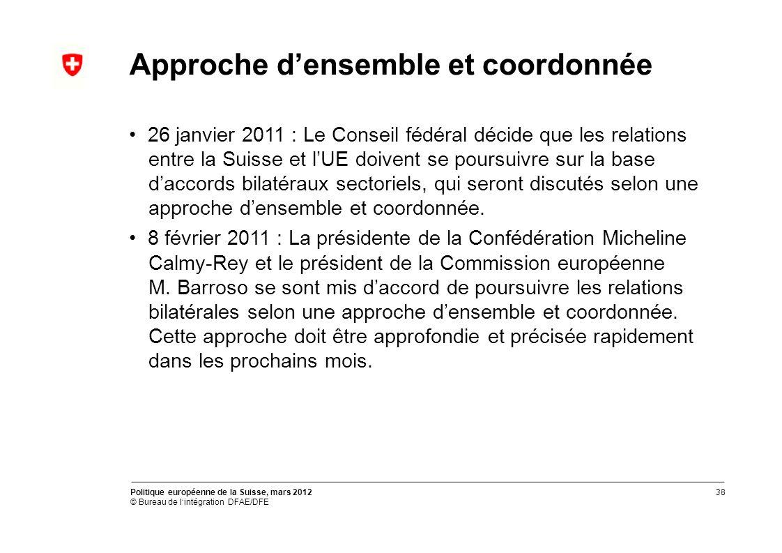 Approche densemble et coordonnée 26 janvier 2011 : Le Conseil fédéral décide que les relations entre la Suisse et lUE doivent se poursuivre sur la base daccords bilatéraux sectoriels, qui seront discutés selon une approche densemble et coordonnée.