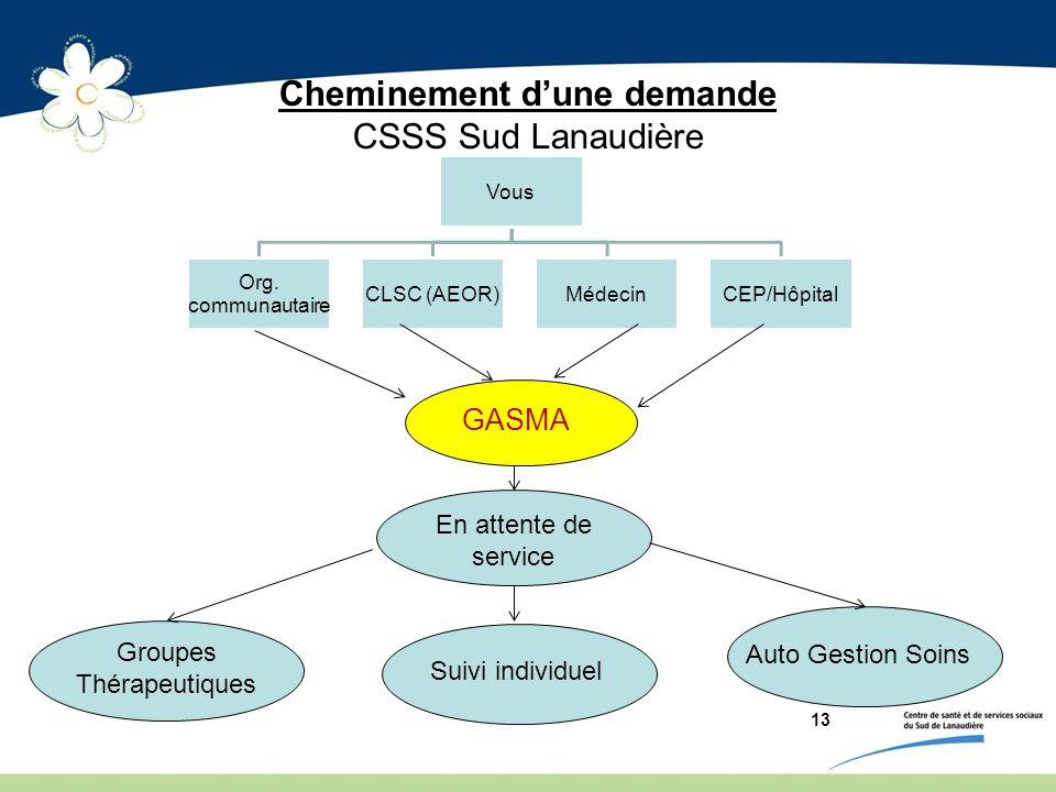 13 Cheminement dune demande CSSS Sud Lanaudière Vous Org. communautaire CLSC (AEOR)MédecinCEP/Hôpital GASMA En attente de service Groupes Thérapeutiqu
