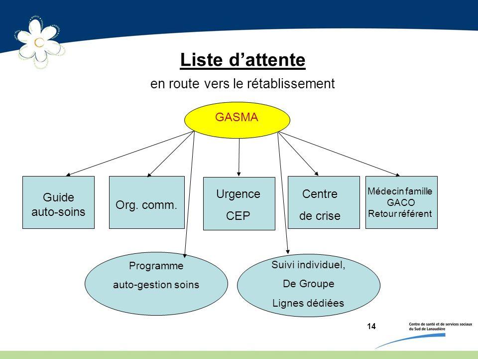 14 Liste dattente en route vers le rétablissement Guide auto-soins Org. comm. Urgence CEP Centre de crise Suivi individuel, De Groupe Lignes dédiées G