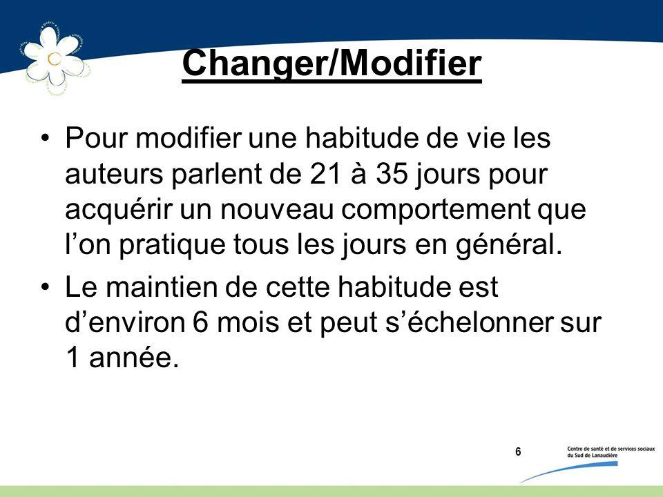 Changer/Modifier Pour modifier une habitude de vie les auteurs parlent de 21 à 35 jours pour acquérir un nouveau comportement que lon pratique tous le