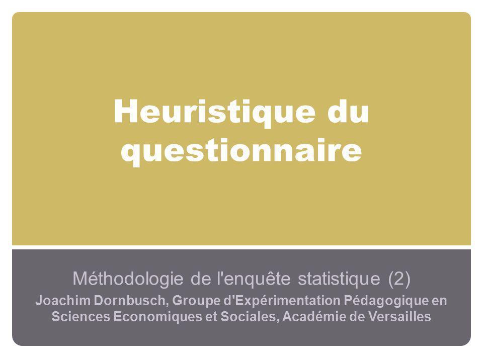 Heuristique du questionnaire Méthodologie de l'enquête statistique (2) Joachim Dornbusch, Groupe d'Expérimentation Pédagogique en Sciences Economiques
