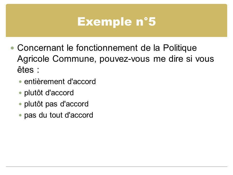 Exemple n°5 Concernant le fonctionnement de la Politique Agricole Commune, pouvez-vous me dire si vous êtes : entièrement d'accord plutôt d'accord plu