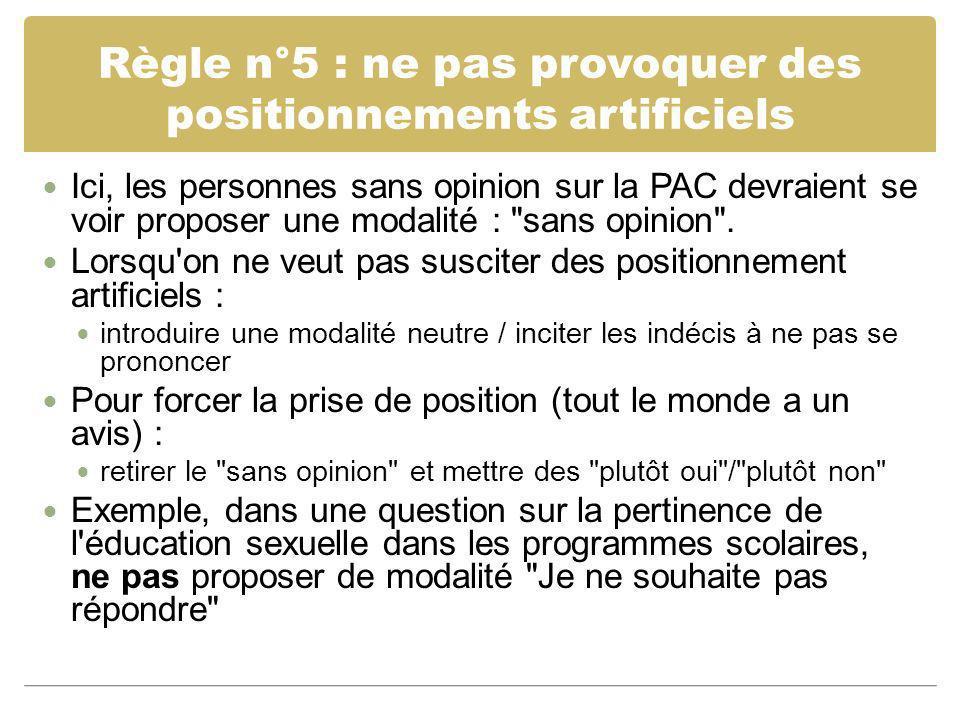 Règle n°5 : ne pas provoquer des positionnements artificiels Ici, les personnes sans opinion sur la PAC devraient se voir proposer une modalité :