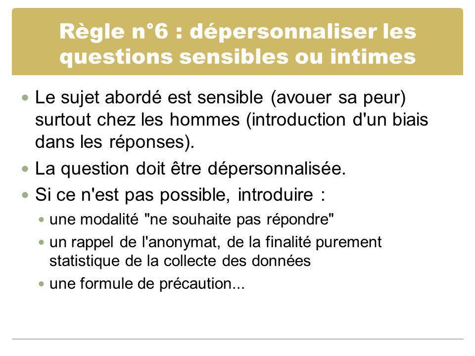 Règle n°6 : dépersonnaliser les questions sensibles ou intimes Le sujet abordé est sensible (avouer sa peur) surtout chez les hommes (introduction d'u