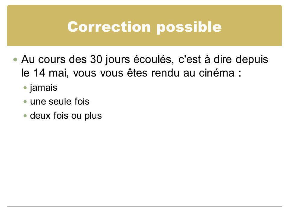 Correction possible Au cours des 30 jours écoulés, c'est à dire depuis le 14 mai, vous vous êtes rendu au cinéma : jamais une seule fois deux fois ou