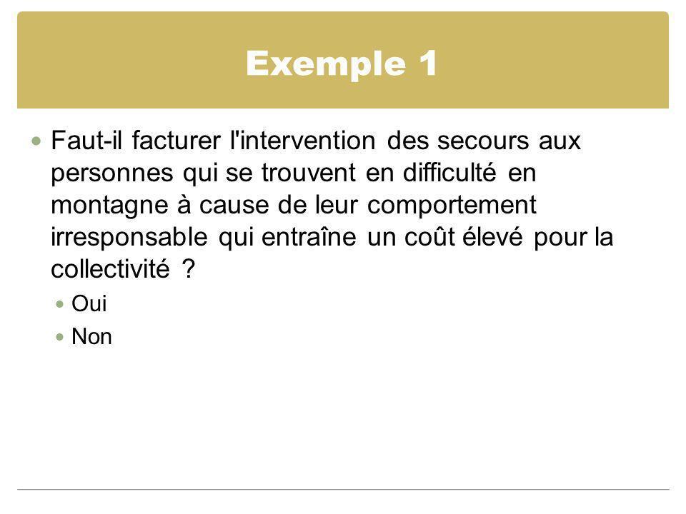 Exemple 1 Faut-il facturer l'intervention des secours aux personnes qui se trouvent en difficulté en montagne à cause de leur comportement irresponsab