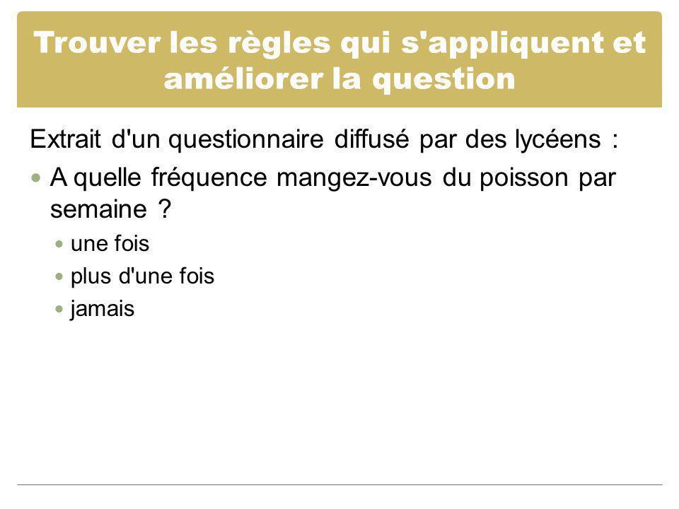 Trouver les règles qui s'appliquent et améliorer la question Extrait d'un questionnaire diffusé par des lycéens : A quelle fréquence mangez-vous du po