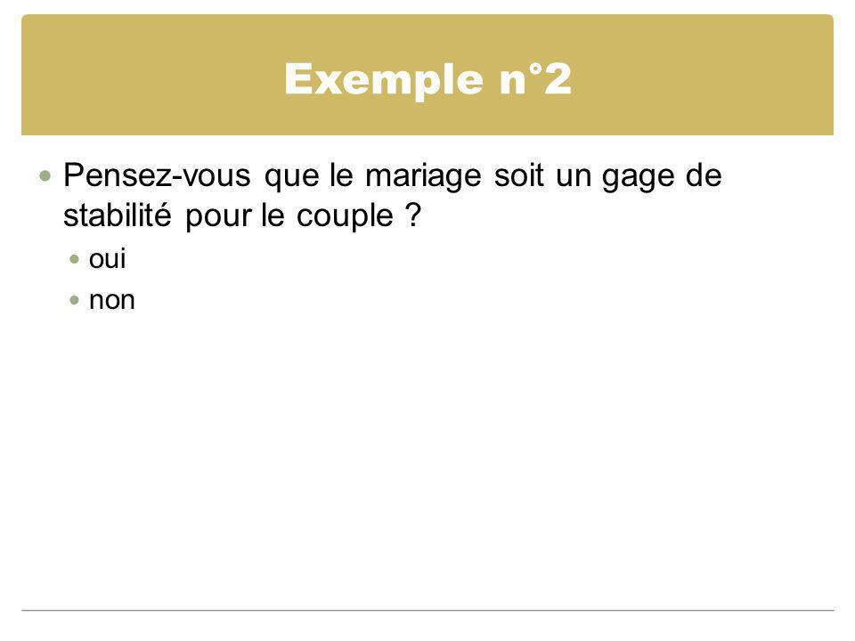 Exemple n°2 Pensez-vous que le mariage soit un gage de stabilité pour le couple ? oui non