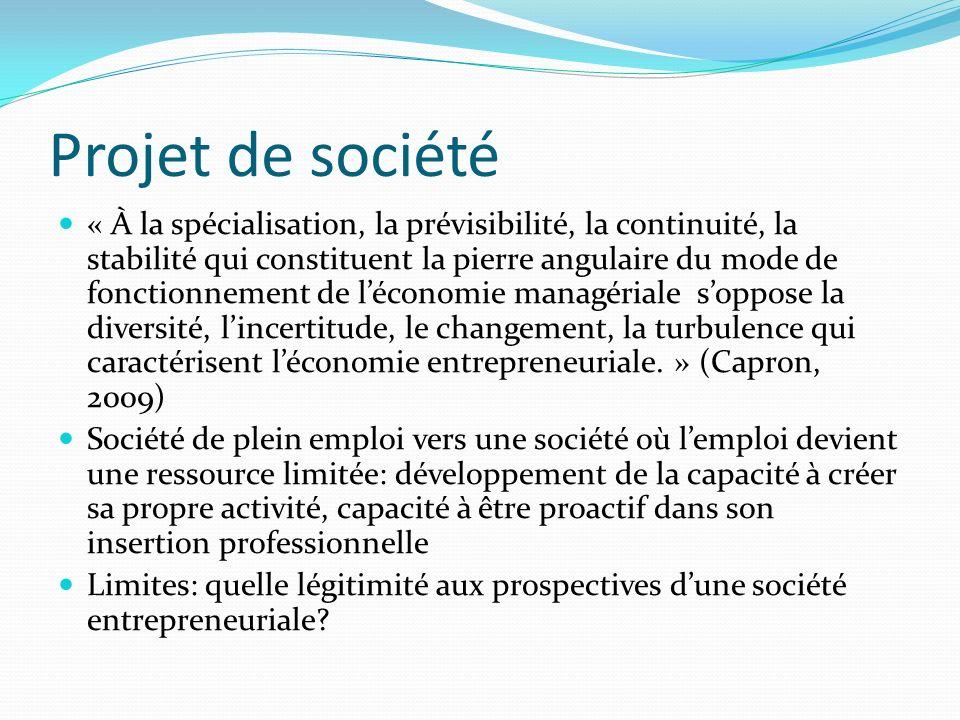 Projet de société « À la spécialisation, la prévisibilité, la continuité, la stabilité qui constituent la pierre angulaire du mode de fonctionnement de léconomie managériale soppose la diversité, lincertitude, le changement, la turbulence qui caractérisent léconomie entrepreneuriale.
