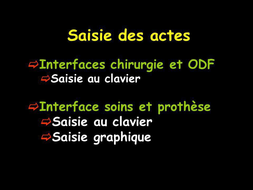 Saisie des actes Interfaces chirurgie et ODF Saisie au clavier Interface soins et prothèse Saisie au clavier Saisie graphique