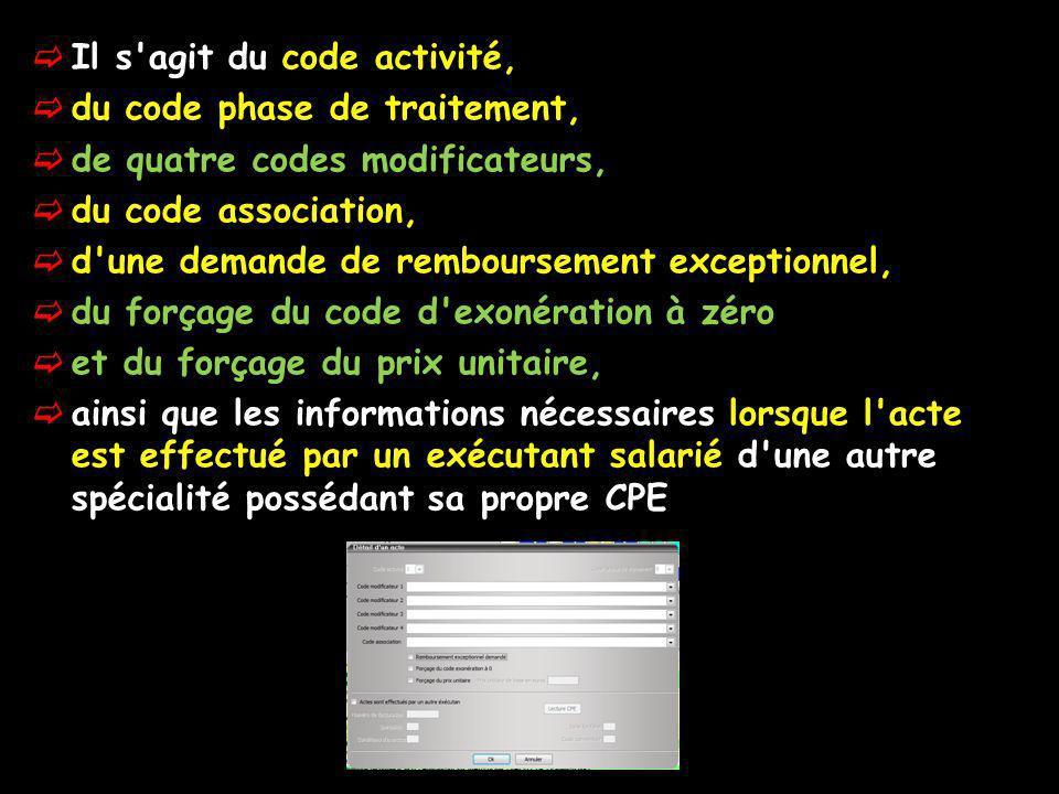 Il s'agit du code activité, du code phase de traitement, de quatre codes modificateurs, du code association, d'une demande de remboursement exceptionn
