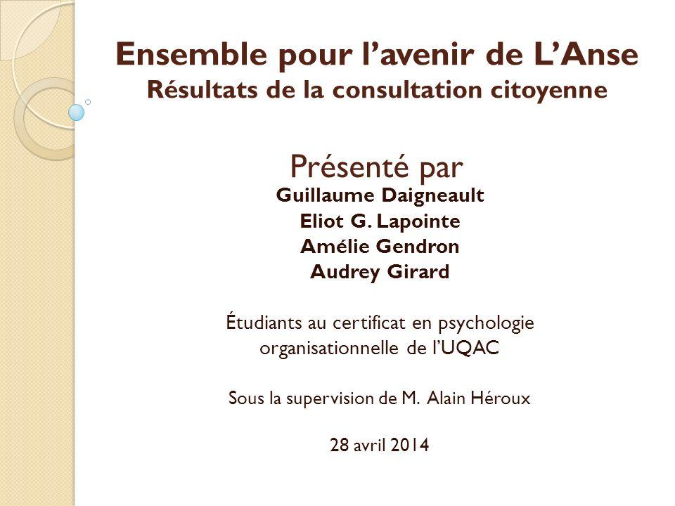 Ensemble pour lavenir de LAnse Résultats de la consultation citoyenne Présenté par Guillaume Daigneault Eliot G.