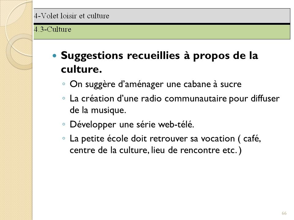 Suggestions recueillies à propos de la culture.