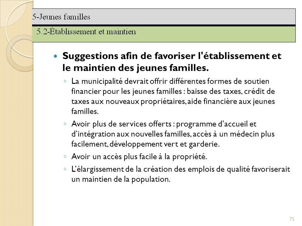 Suggestions afin de favoriser l établissement et le maintien des jeunes familles.
