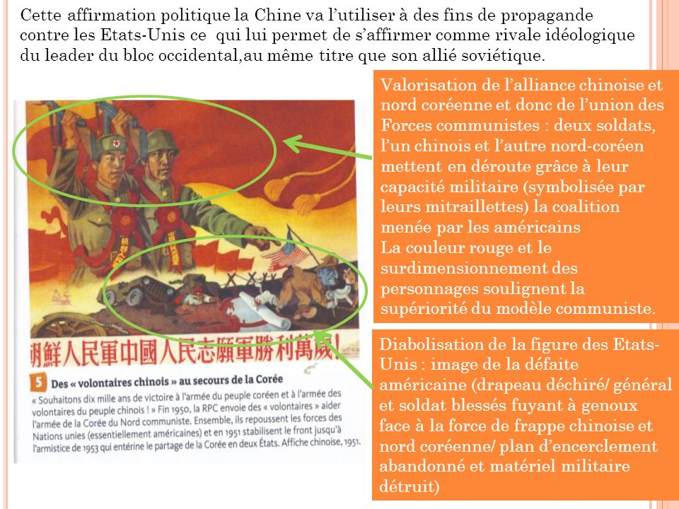 Cette affirmation politique la Chine va lutiliser à des fins de propagande contre les Etats-Unis ce qui lui permet de saffirmer comme rivale idéologique du leader du bloc occidental,au même titre que son allié soviétique.