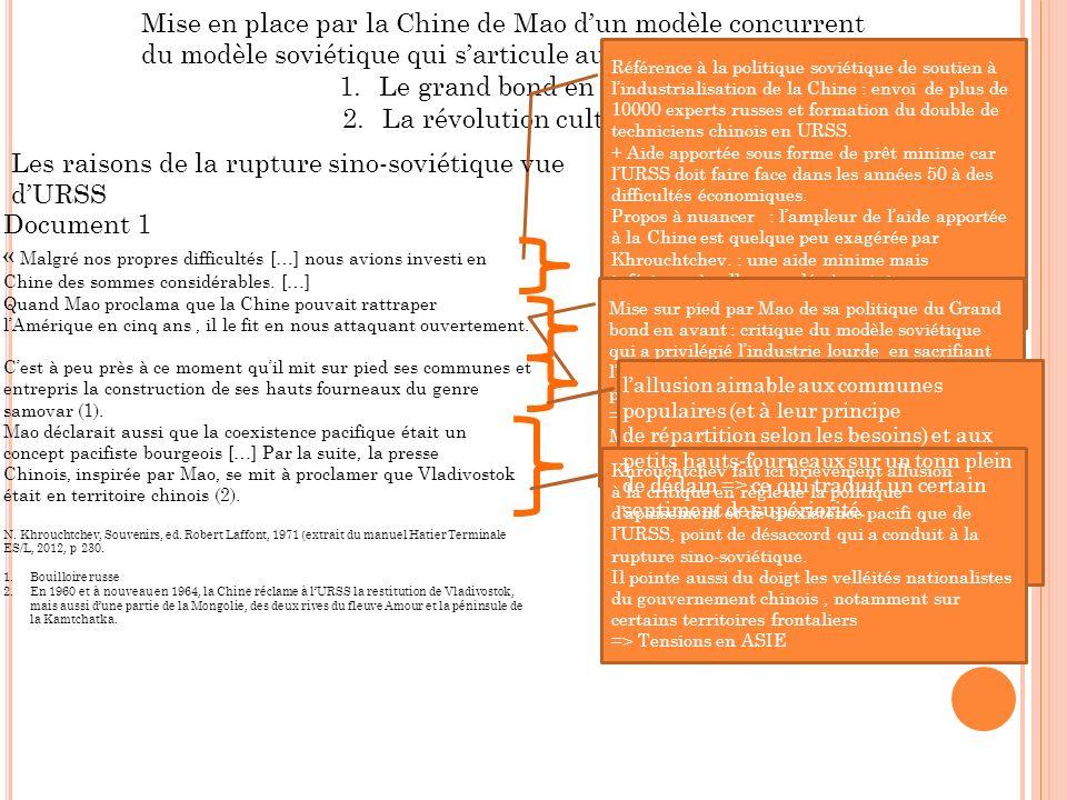 Mise en place par la Chine de Mao dun modèle concurrent du modèle soviétique qui sarticule autour de deux axes 1.Le grand bond en avant 2.La révolution culturelle Document 1 « Malgré nos propres difficultés […] nous avions investi en Chine des sommes considérables.