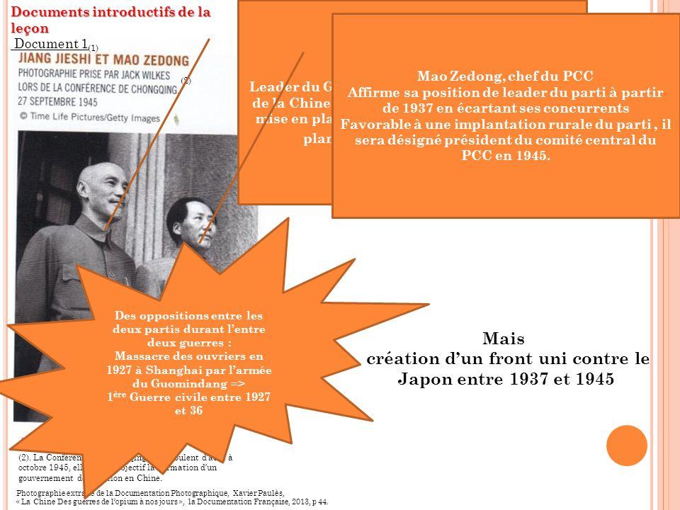 Photographie extraite de la Documentation Photographique, Xavier Paulès, « La Chine Des guerres de lopium à nos jours », la Documentation Française, 2013, p 44.