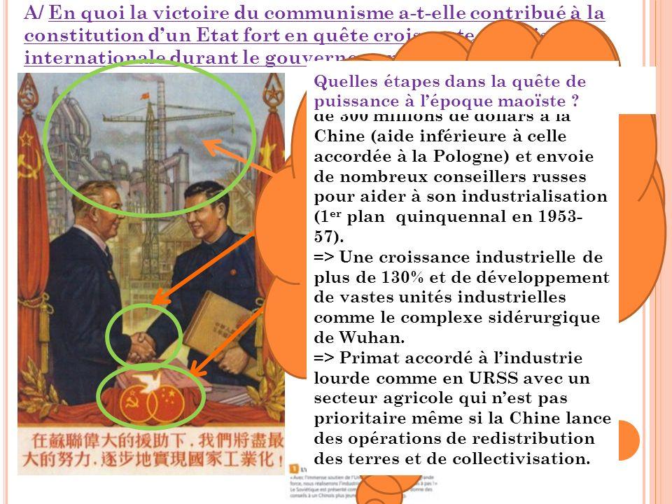 A/ En quoi la victoire du communisme a-t-elle contribué à la constitution dun Etat fort en quête croissante de puissance internationale durant le gouvernement de Mao (1949-1976 ) .