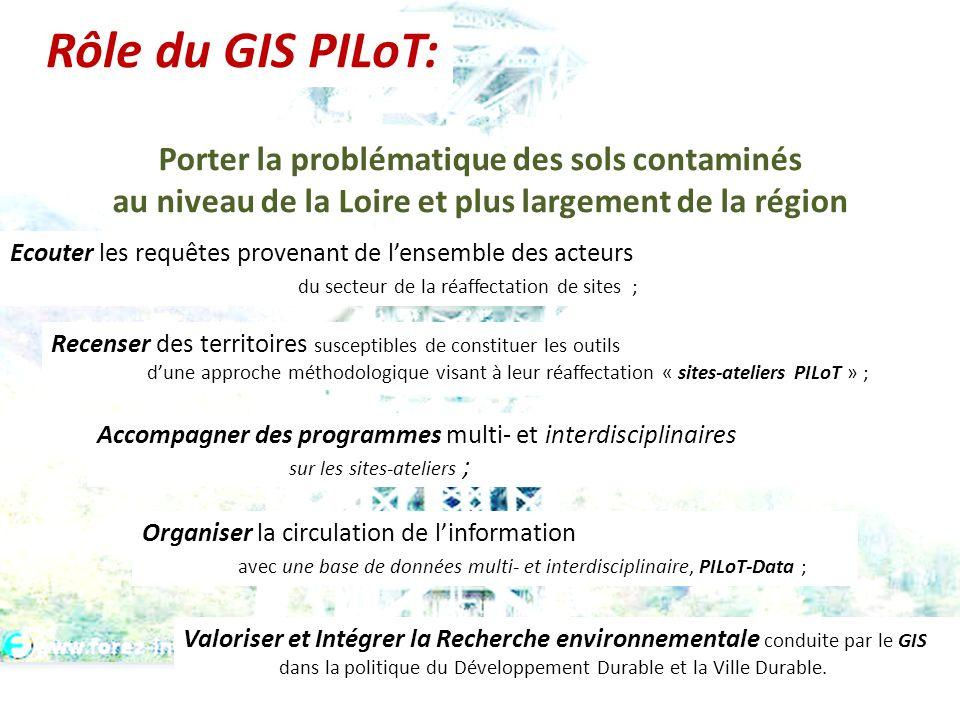 Porter la problématique des sols contaminés au niveau de la Loire et plus largement de la région Ecouter les requêtes provenant de lensemble des acteu