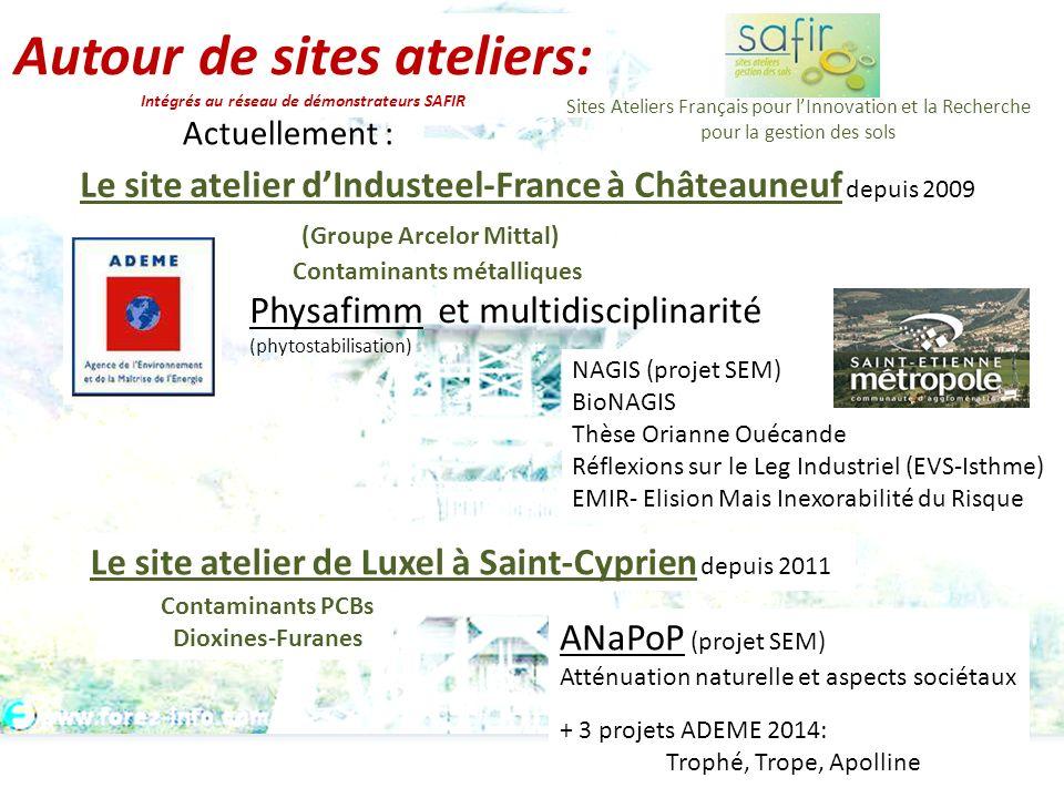 Autour de sites ateliers: Intégrés au réseau de démonstrateurs SAFIR Le site atelier dIndusteel-France à Châteauneuf depuis 2009 (Groupe Arcelor Mitta