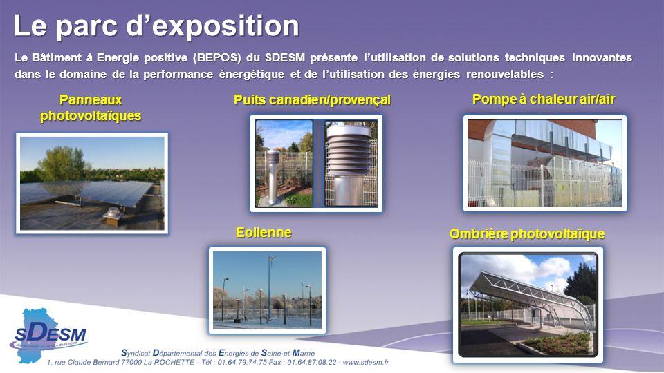 Le Bâtiment à Energie positive (BEPOS) du SDESM présente lutilisation de solutions techniques innovantes dans le domaine de la performance énergétique et de lutilisation des énergies renouvelables : Panneaux photovoltaïques Puits canadien/provençal Pompe à chaleur air/air Ombrière photovoltaïque Eolienne Le parc dexposition