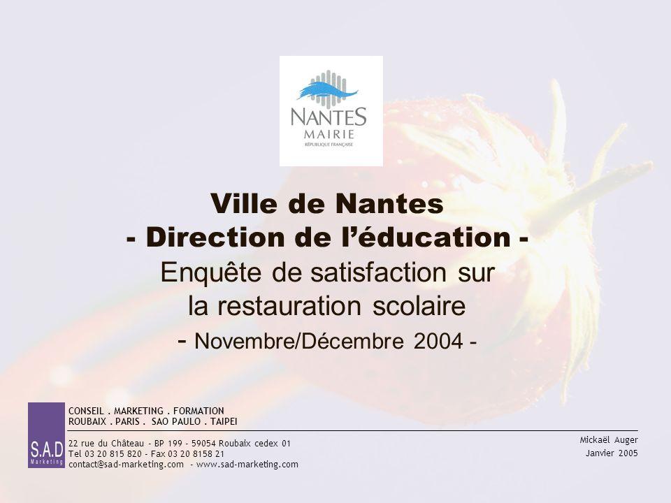 Mickaël Auger Janvier 2005 Ville de Nantes - Direction de léducation - Enquête de satisfaction sur la restauration scolaire - Novembre/Décembre 2004 -