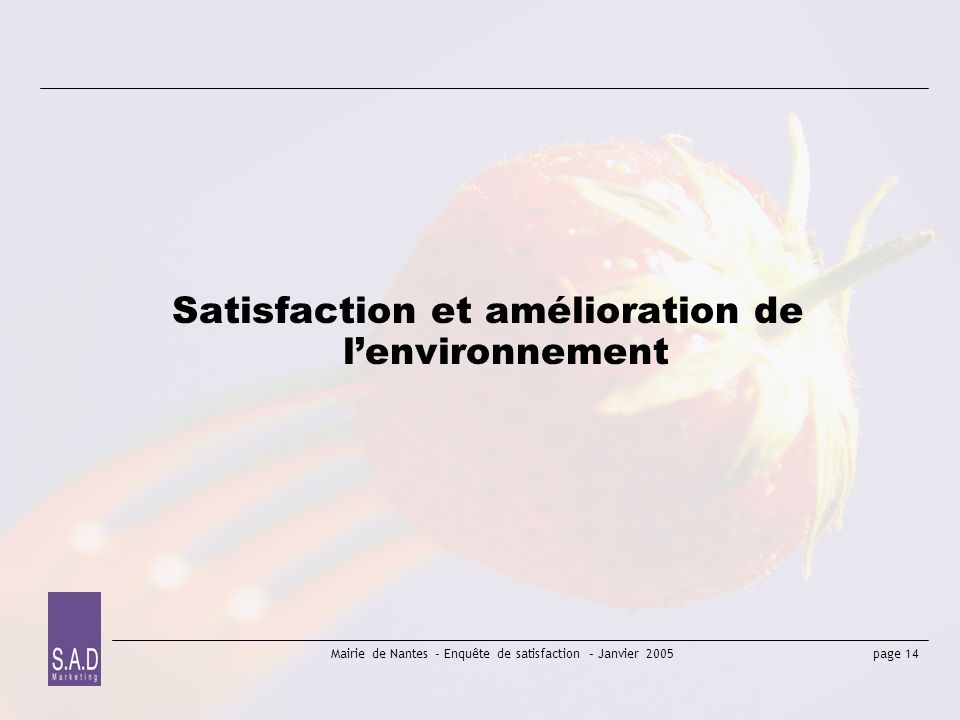 page 14 Mairie de Nantes - Enquête de satisfaction – Janvier 2005 Satisfaction et amélioration de lenvironnement