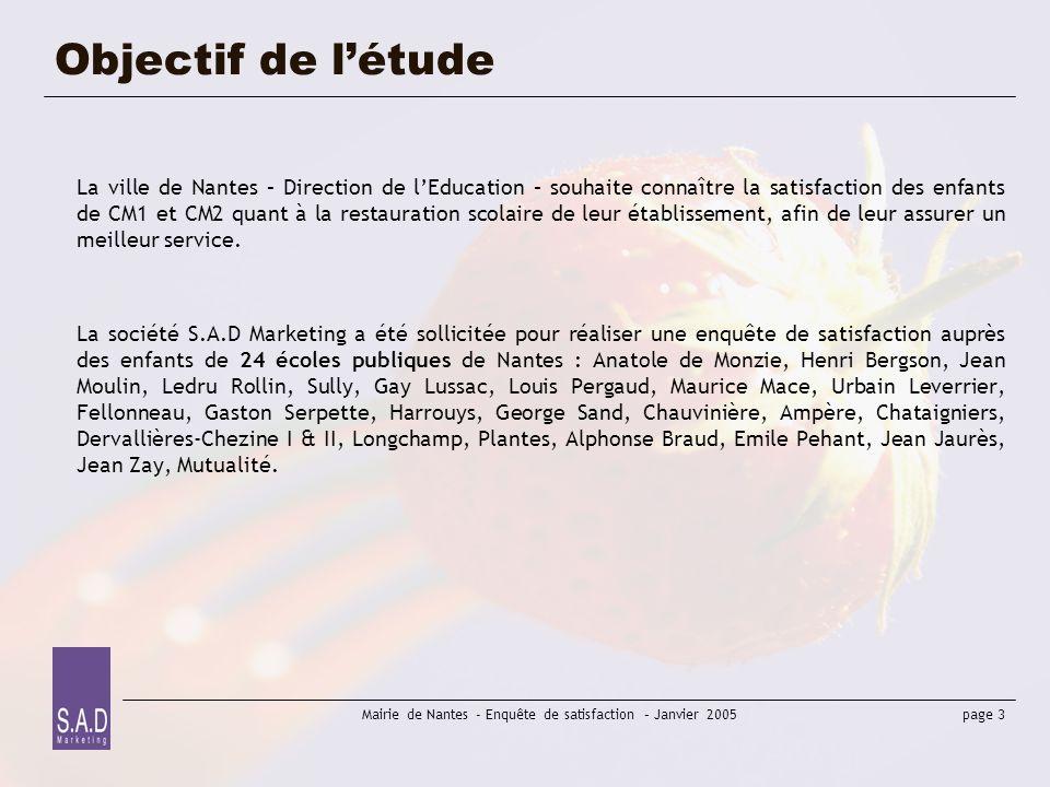 page 4 Mairie de Nantes - Enquête de satisfaction – Janvier 2005 Méthodologie Pour mener cette étude de satisfaction, la méthodologie mise en place a été la suivante : 1 – élaboration du questionnaire-type selon les critères définis par la ville de Nantes, et test du questionnaire (octobre 2004).