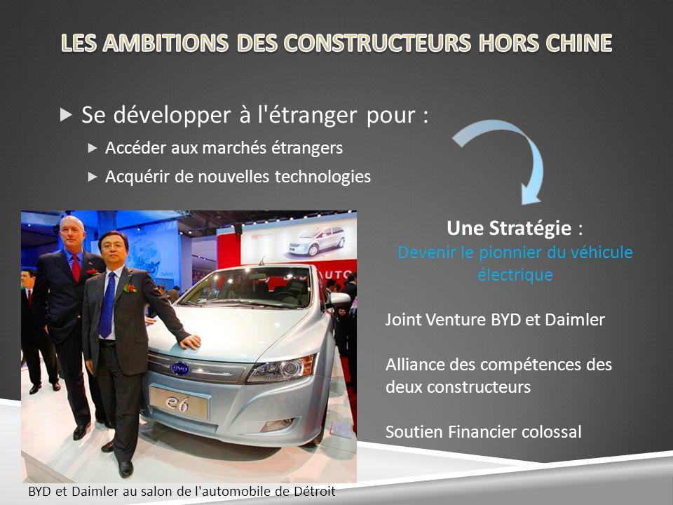 Se développer à l étranger pour : Accéder aux marchés étrangers Acquérir de nouvelles technologies Une Stratégie : Devenir le pionnier du véhicule électrique Joint Venture BYD et Daimler Alliance des compétences des deux constructeurs Soutien Financier colossal BYD et Daimler au salon de l automobile de Détroit