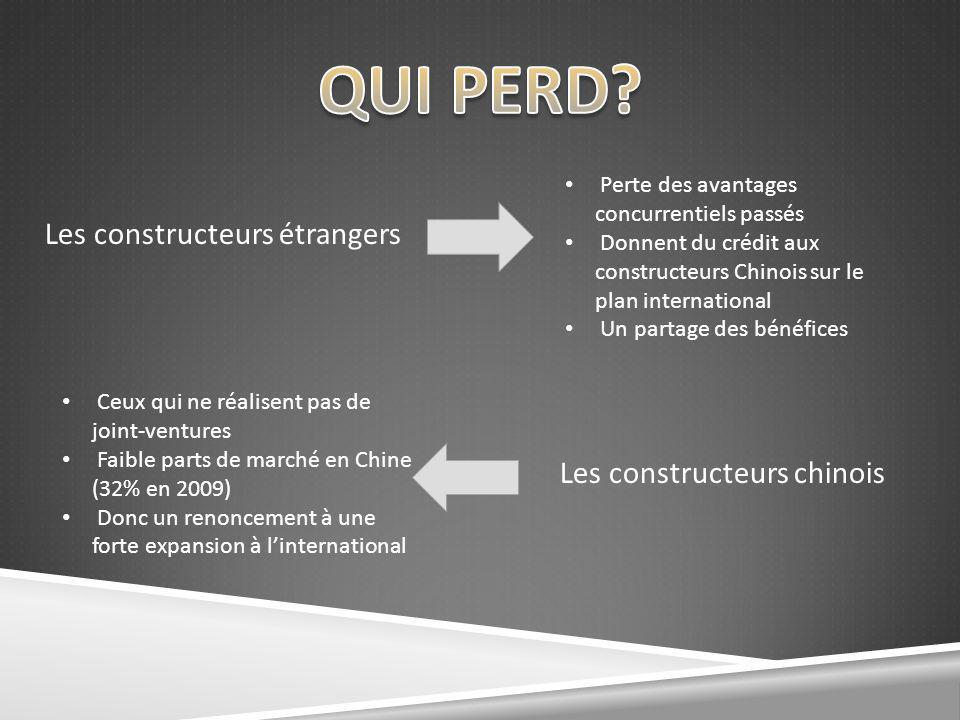 Les constructeurs étrangers Les constructeurs chinois Ceux qui ne réalisent pas de joint-ventures Faible parts de marché en Chine (32% en 2009) Donc u