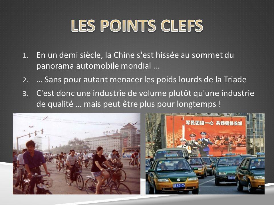 1. En un demi siècle, la Chine s'est hissée au sommet du panorama automobile mondial … 2. … Sans pour autant menacer les poids lourds de la Triade 3.
