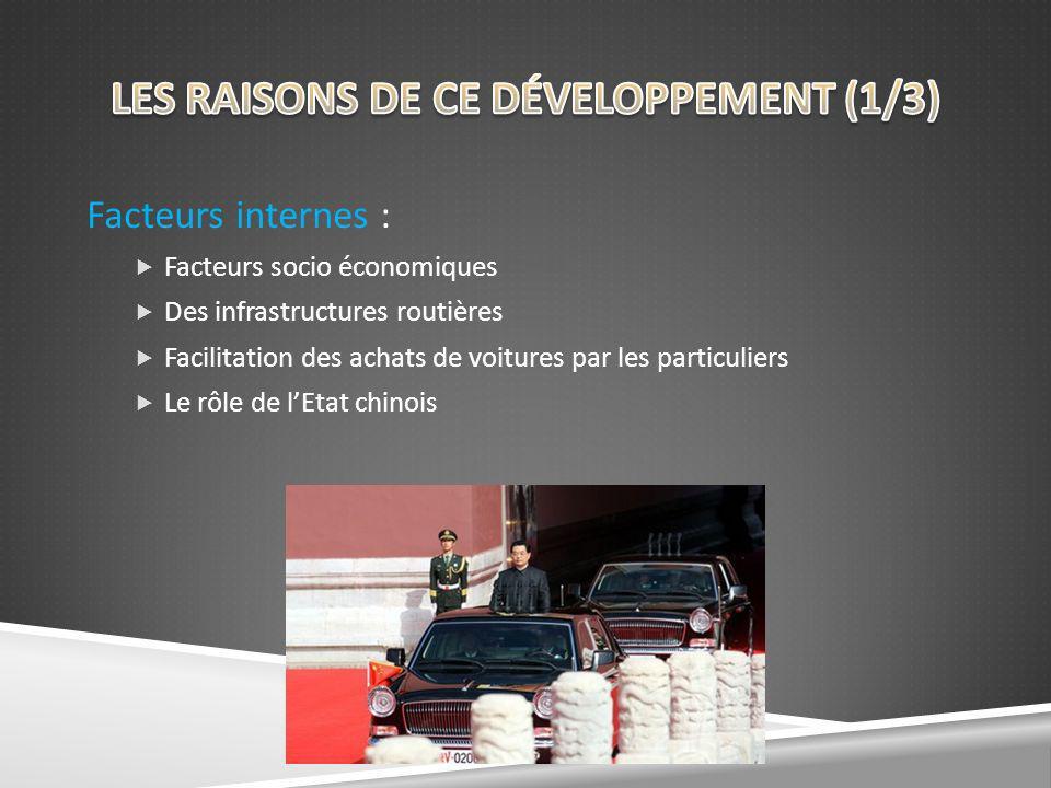 Facteurs internes : Facteurs socio économiques Des infrastructures routières Facilitation des achats de voitures par les particuliers Le rôle de lEtat