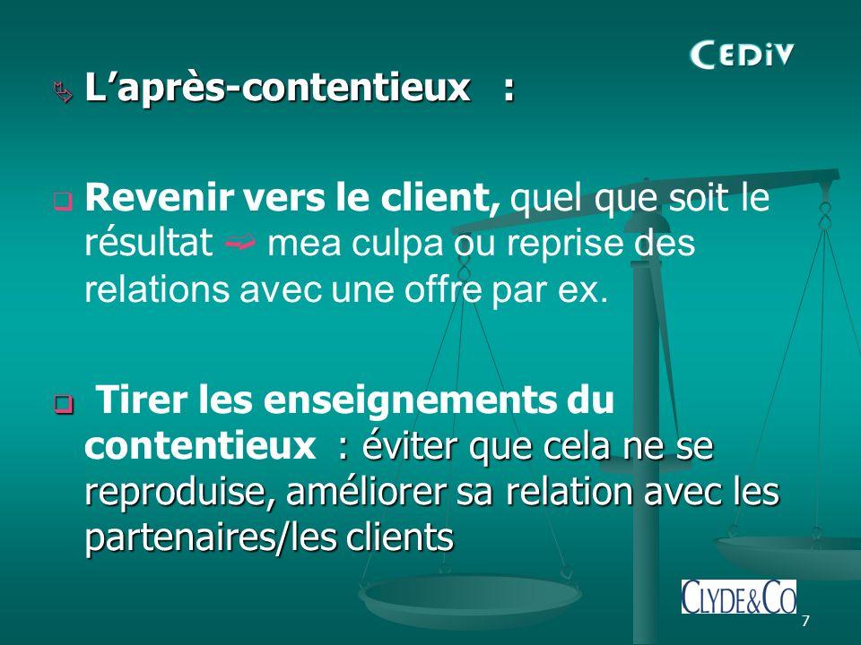 7 Laprès-contentieux : Laprès-contentieux : Revenir vers le client, quel que soit le résultat mea culpa ou reprise des relations avec une offre par ex.