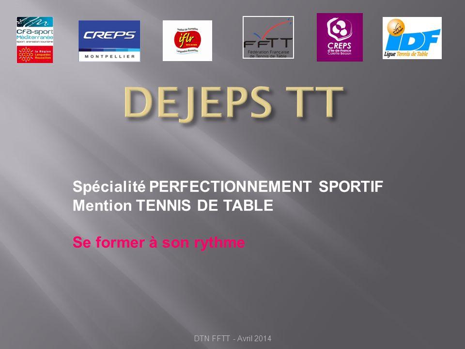 Spécialité PERFECTIONNEMENT SPORTIF Mention TENNIS DE TABLE Se former à son rythme DTN FFTT - Avril 2014