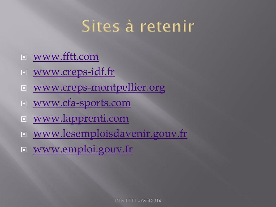 www.fftt.com www.creps-idf.fr www.creps-montpellier.org www.cfa-sports.com www.lapprenti.com www.lesemploisdavenir.gouv.fr www.emploi.gouv.fr DTN FFTT