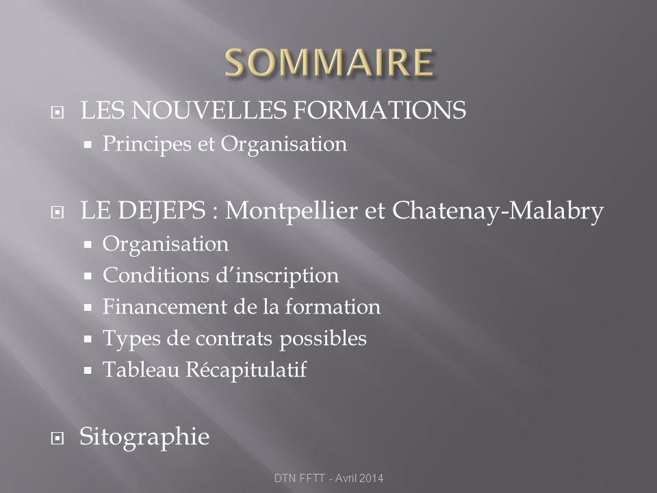 LES NOUVELLES FORMATIONS Principes et Organisation LE DEJEPS : Montpellier et Chatenay-Malabry Organisation Conditions dinscription Financement de la