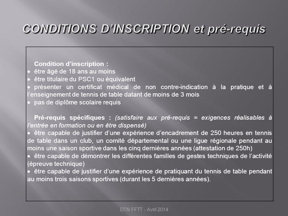 Montpellier : une formation à 2 vitesses UC3 et UC4 certifiées la 1 ère année 16 stagiaires maximum / an UC1/UC2 certifiées la 1ère année Fin Juin FORMATION 12 mois 16 semaines à Montpellier 25 semaines en Structure UC1/UC2 certifiées la 2ème année Fin Juin FORMATION 24 mois 8 semaines à Montpellier (1 an) 34 semaines en Structure DTN FFTT - Avril 2014