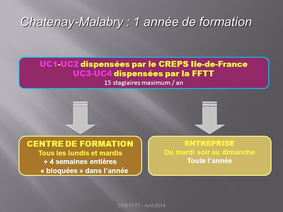 Exemple : Planning FORMATION 12 mois 16 semaines à Montpellier 25 semaines en Structure DTN FFTT - Avril 2014