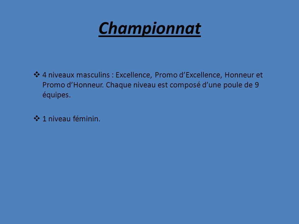 Championnat 4 niveaux masculins : Excellence, Promo dExcellence, Honneur et Promo dHonneur. Chaque niveau est composé dune poule de 9 équipes. 1 nivea