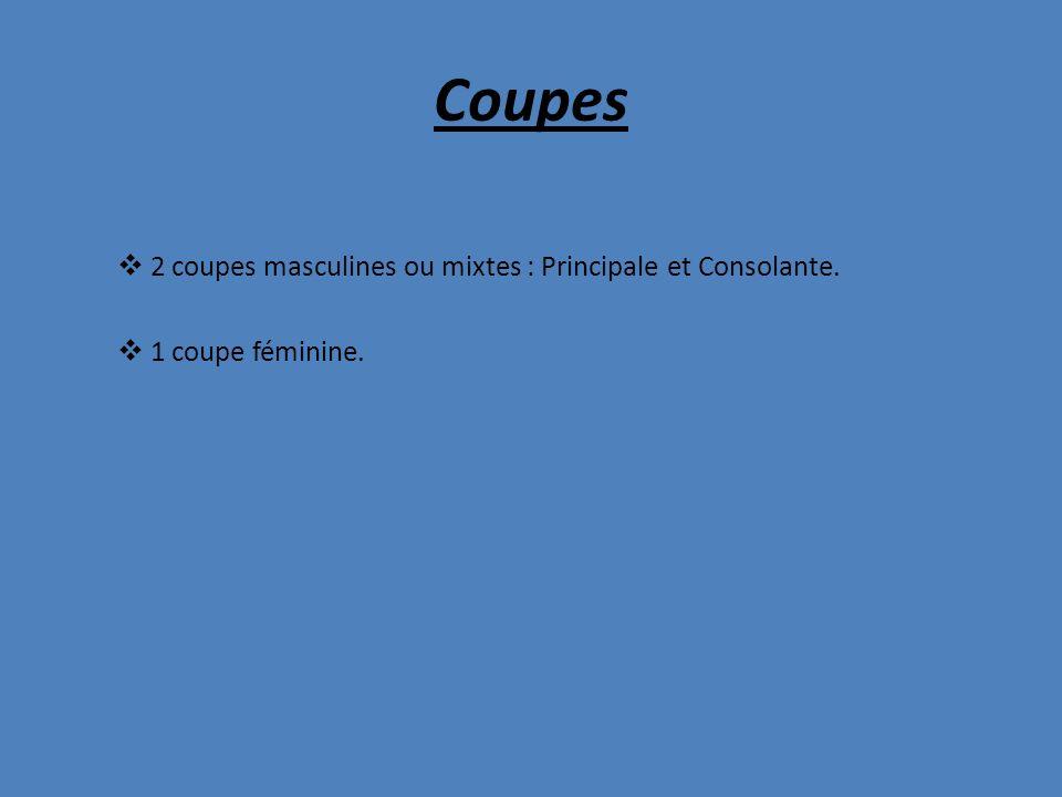 Coupes 2 coupes masculines ou mixtes : Principale et Consolante. 1 coupe féminine.