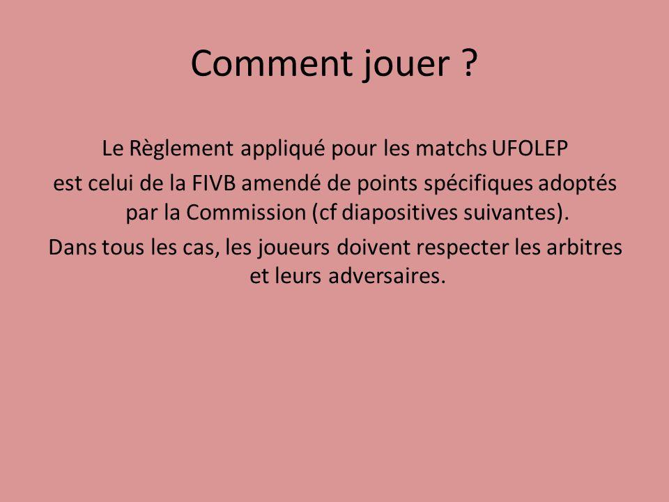 Comment jouer ? Le Règlement appliqué pour les matchs UFOLEP est celui de la FIVB amendé de points spécifiques adoptés par la Commission (cf diapositi