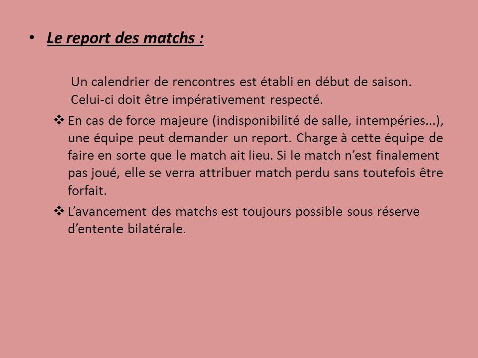 Le report des matchs : Un calendrier de rencontres est établi en début de saison. Celui-ci doit être impérativement respecté. En cas de force majeure
