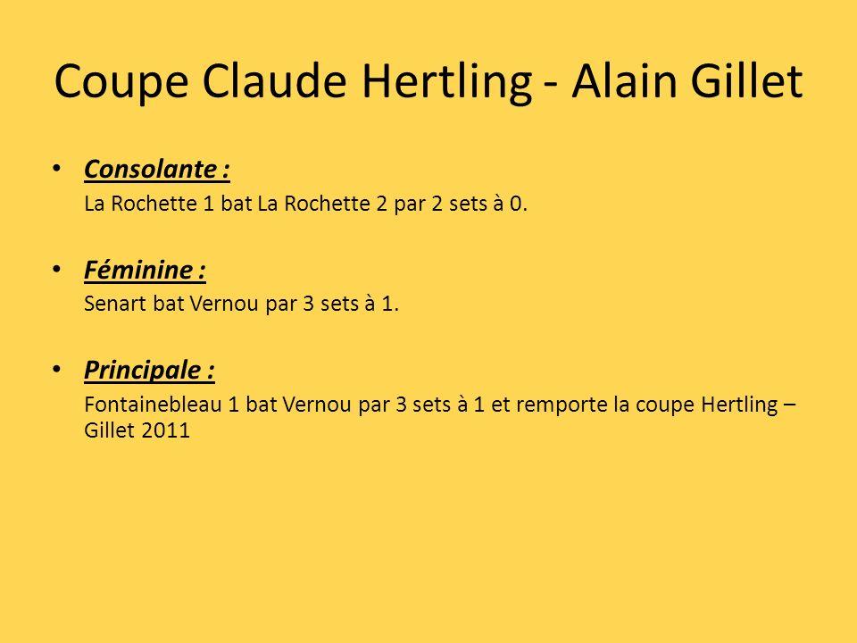 Coupe Claude Hertling - Alain Gillet Consolante : La Rochette 1 bat La Rochette 2 par 2 sets à 0. Féminine : Senart bat Vernou par 3 sets à 1. Princip