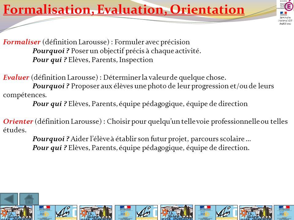 Séminaire National CIT PARIS 2011 Formalisation, Evaluation, Orientation Formaliser (définition Larousse) : Formuler avec précision Pourquoi ? Poser u