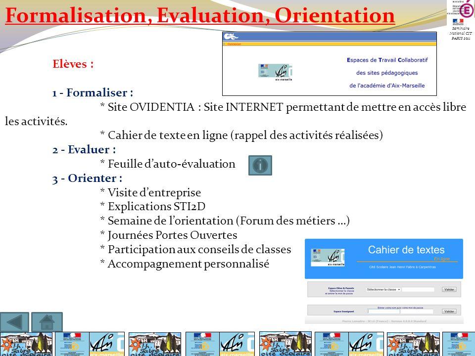 Séminaire National CIT PARIS 2011 Formalisation, Evaluation, Orientation Elèves : 1 - Formaliser : * Site OVIDENTIA : Site INTERNET permettant de mett