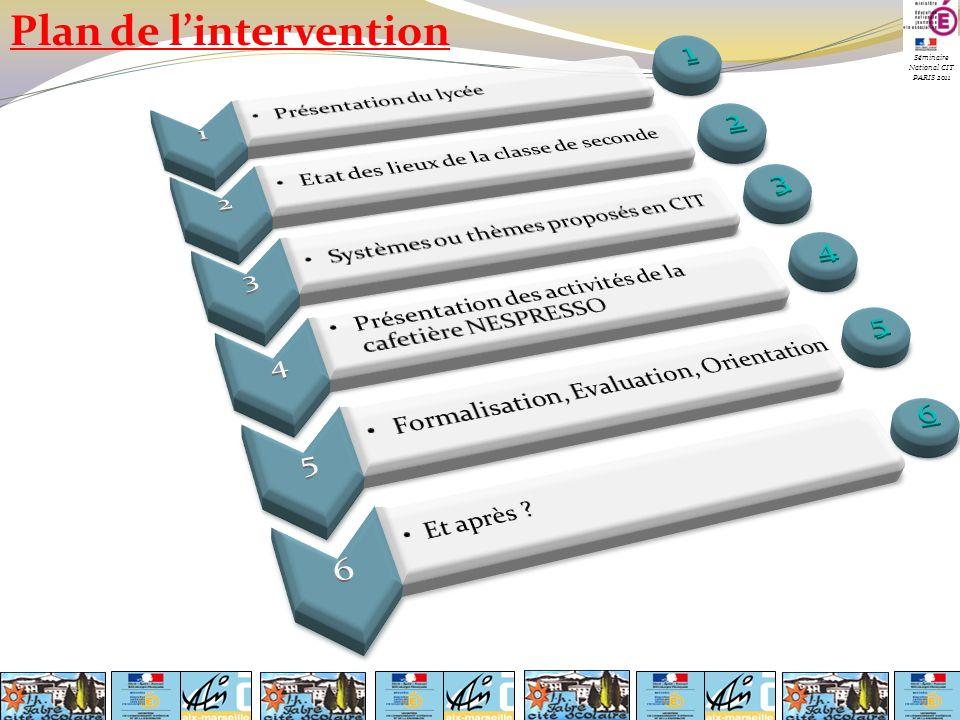 Plan de lintervention Séminaire National CIT PARIS 2011